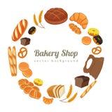 Collection d'articles de pâtisserie ou de boulangerie d'isolement sur le blanc Icônes de pain de bande dessinée Vecteur Image libre de droits