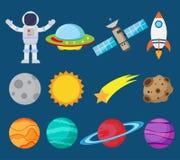 Collection d'astronautes dans l'ensemble de vecteur de l'espace et de planète
