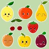 Collection d'autocollant de fruit Collection d'autocollants des fruits dans une course blanche, dans un style plat illustration de vecteur