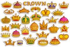 Collection d'autocollant pour la couronne héraldique d'or ornemental pour le roi et la reine illustration libre de droits