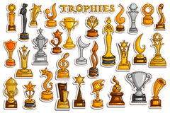 Collection d'autocollant pour Victory Gold Cups et le trophée illustration de vecteur