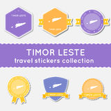 Collection d'autocollants de voyage de Timor-Leste Photo stock