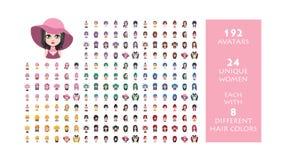 Collection d'avatar de 192 femmes illustration libre de droits