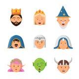 Collection d'avatars de conte de fées Mascotte barbare de vecteur de princesse de lutin de reine de guerrier de caractères de jeu illustration stock