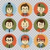Collection d'avatars de personnes Les professions dirigent les icônes plates Soldat, homme d'affaires, directeur, metteur en scèn illustration libre de droits