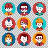 Collection d'avatars de personnes Les professions dirigent les icônes plates Soldat, homme d'affaires, directeur, metteur en scèn illustration de vecteur