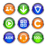 Collection 3d buttons icon web business Royalty Free Stock Image