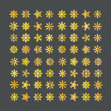 Collection d'or de flocons de neige de vecteur différent illustration stock