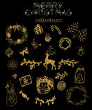 Collection d'or de Noël Images libres de droits