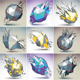 Collection of 3d  digital wireframe colorful objects broke Royalty Free Stock Images