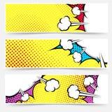 Collection d'en-tête de jaune de bande dessinée d'art de bruit Photos stock