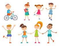 Collection d'enfants heureux dans différentes positions Photo stock