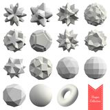 Collection of 15 3d geometric shapes. In white color Stock Photo