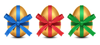 Collection of 3D golden Easter eggs with colorful ribbon bows Royalty Free Stock Photos