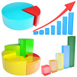 Collection of 3D graphs Stock Image
