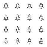 Collection d'icône d'arbre de Noël Images stock