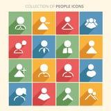 Collection d'icône de personnes avec l'ombre dans le style plat à la mode d'isolement sur le fond coloré image libre de droits
