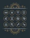 Collection d'icône de zodiaque Ensemble de symboles sacré Les éléments de conception de style de vintage de l'horoscope et de l'a Image stock