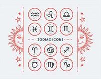 Collection d'icône de zodiaque Ensemble de symboles sacré Les éléments de conception de style de vintage de l'horoscope et de l'a Photos stock
