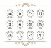 Collection d'icône de zodiaque Ensemble de symboles sacré Les éléments de conception de style de vintage de l'horoscope et de l'a Photos libres de droits
