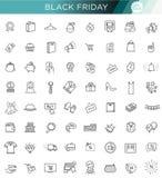 Collection d'icône d'ensemble - grande vente de Black Friday Images stock