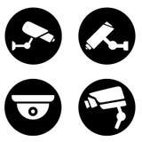 Collection d'icône moderne de télévision en circuit fermé silhouette d'illustration des vidéos surveillance Ic?nes de surveillanc illustration libre de droits