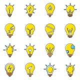 Collection d'icônes d'ampoule dans le style plat à la mode d'isolement sur le fond blanc photographie stock