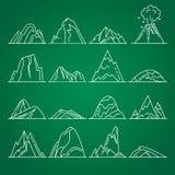 Collection d'icônes de montagne dans la ligne style mince Photos libres de droits