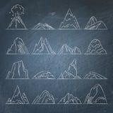 Collection d'icônes de montagne sur le tableau Photos libres de droits