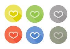 Collection d'icône arrondie par symbole de coeur avec Photos stock