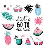 Collection d'icône d'été Ensemble tropical de vecteur avec le fruit exotique illustration stock