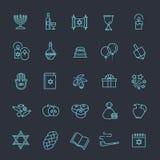 Collection d'icône d'ensemble - symboles de Hanoucca Images libres de droits