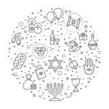 Collection d'icône d'ensemble - symboles de Hanoucca Photographie stock libre de droits