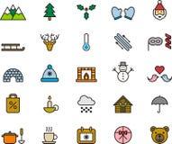 Collection d'icône d'hiver Photos stock