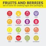 Collection d'icône de fruit - illustration de vecteur Image libre de droits