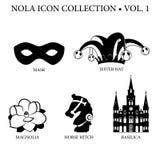 Collection d'icône de la Nouvelle-Orléans Image stock