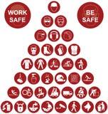 Collection d'icône de santé et sécurité de pyramide Image stock