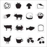 Collection d'icône de type différent de nourriture Photographie stock libre de droits