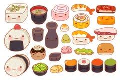 Collection d'icône orientale japonaise de griffonnage de nourriture de beau bébé Photos stock