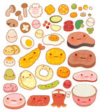 Collection d'icône orientale japonaise de griffonnage de nourriture de beau bébé Photos libres de droits