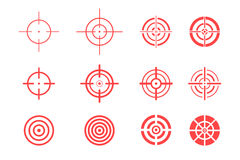 Collection d'icônes de cible sur le fond blanc Signes de but réglés Images stock