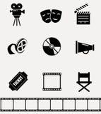Collection d'icônes de cinéma Photo libre de droits