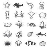 Collection d'icônes de créature de mer de bande dessinée Photos libres de droits