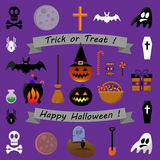 Collection d'icônes de Halloween - illustration courante de vecteur Photos libres de droits