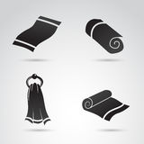 Collection d'icônes de serviette sur le fond blanc Photographie stock libre de droits