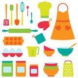 Collection d'icônes de vecteur sur le thème de cuisson Photos stock