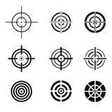 Collection d'icônes noires de cible Signes de but réglés Photographie stock