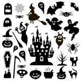 Collection d'icônes noires Halloween sur un fond blanc Photographie stock