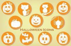 Collection d'icônes orientées de Halloween dans des couleurs de vintage Photographie stock