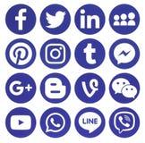 Collection d'icônes sociales rondes bleues populaires de media Photo stock